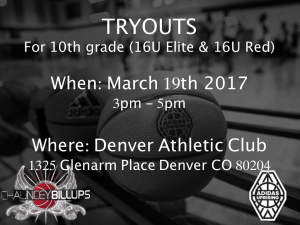 Tryouts - March 2017