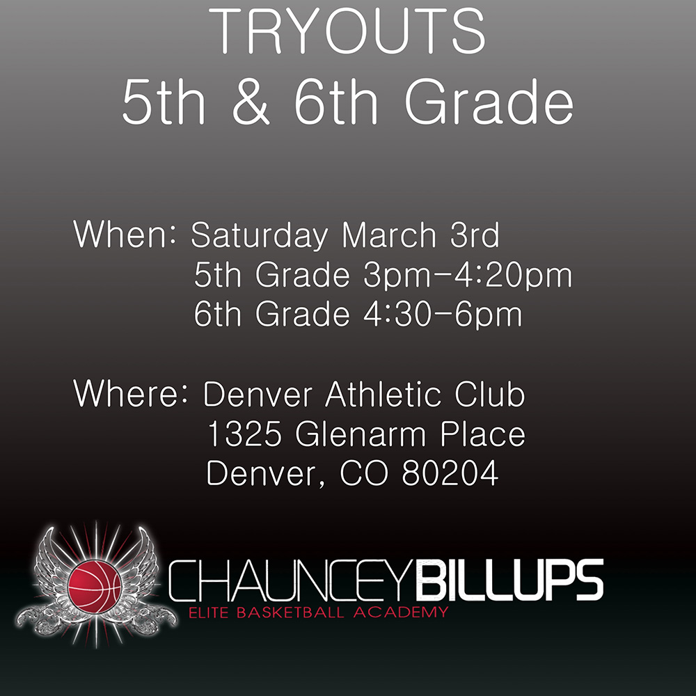 Tryouts for 5th, 6th Grade - March 2018